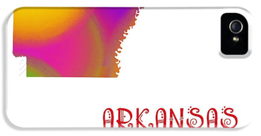 Andee Design IPhone 5 Case featuring the digital art Arkansas State Map Collection 2 by Andee Design