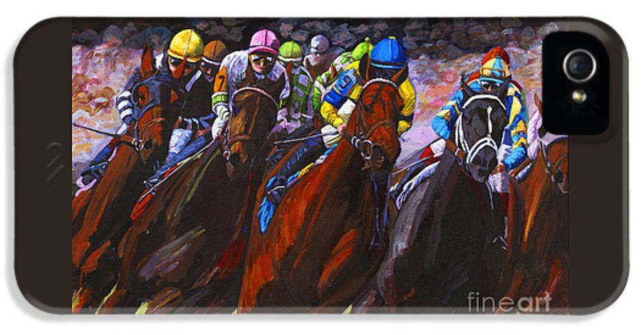 Horses IPhone 5 Case featuring the painting Around The Turn They Come by Thomas Michael Meddaugh
