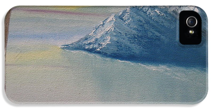 Snow IPhone 5 Case featuring the painting As Big As The Mountain by Sayali Mahajan