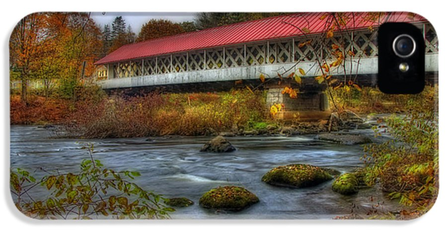 New Hampshire IPhone 5 Case featuring the photograph Ashuelot Covered Bridge 2 by Joann Vitali