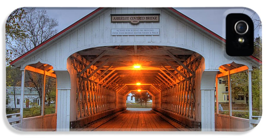New Hampshire IPhone 5 Case featuring the photograph Ashuelot Covered Bridge by Joann Vitali