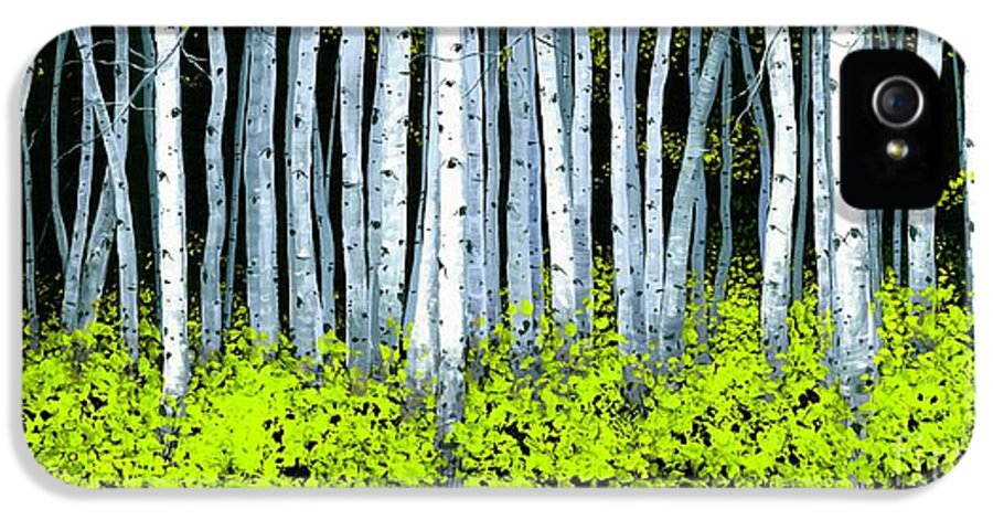 Aspens IPhone 5 Case featuring the painting Aspen II by Michael Swanson