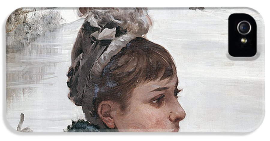 Portrait IPhone 5 Case featuring the painting At The Lake by Giuseppe De Nittis