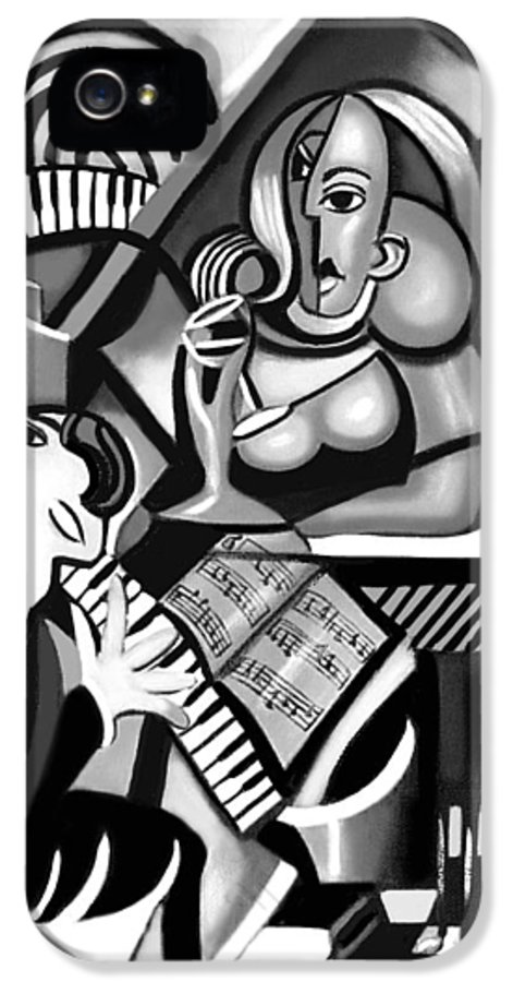 At The Piano IPhone 5 Case featuring the painting At The Piano Bar by Anthony Falbo