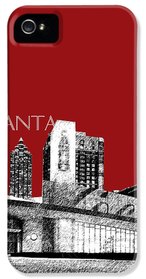 Architecture IPhone 5 Case featuring the digital art Atlanta World Of Coke Museum - Dark Red by DB Artist
