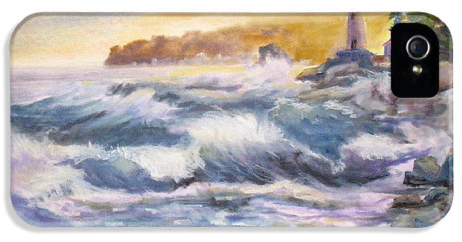 Atlantic IPhone 5 Case featuring the painting Atlantic Agitation by Mohamed Hirji