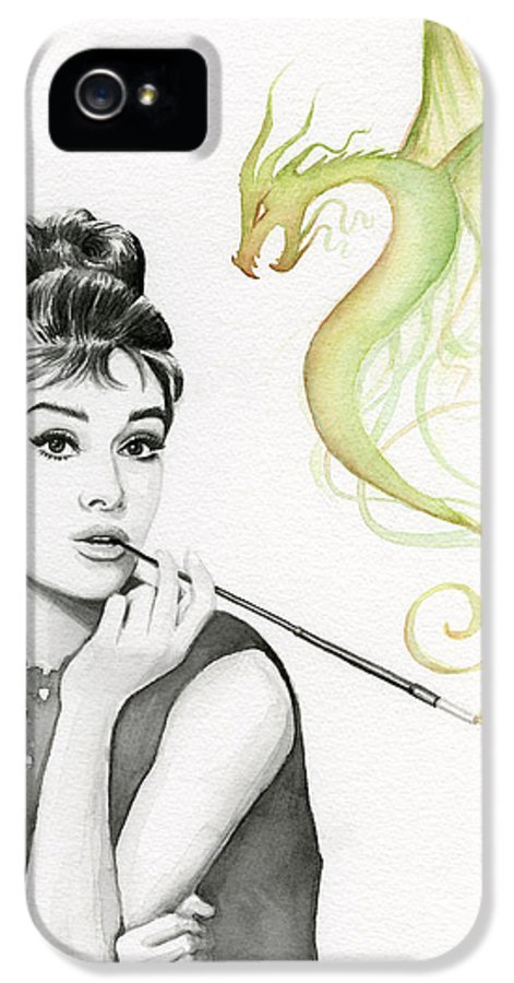 Audrey IPhone 5 Case featuring the painting Audrey And Her Magic Dragon by Olga Shvartsur