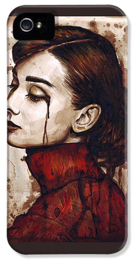 Audrey Hepburn IPhone 5 / 5s Case featuring the painting Audrey Hepburn - Quiet Sadness by Olga Shvartsur