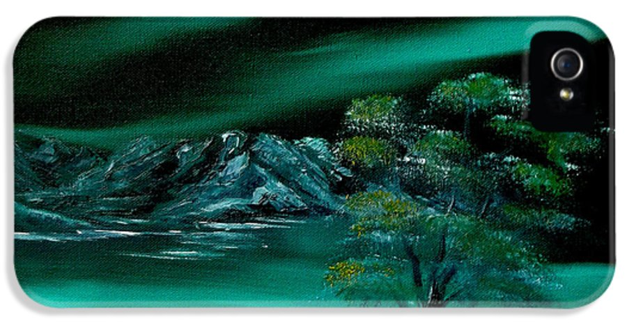 Landscape IPhone 5 Case featuring the painting Aurora Borealis In Oils. by Cynthia Adams