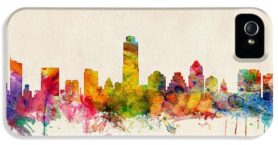 Watercolour IPhone 5 Case featuring the digital art Austin Texas Skyline by Michael Tompsett
