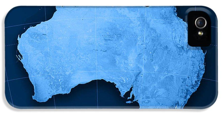 Australia IPhone 5 Case featuring the digital art Australia Topographic Map by Frank Ramspott