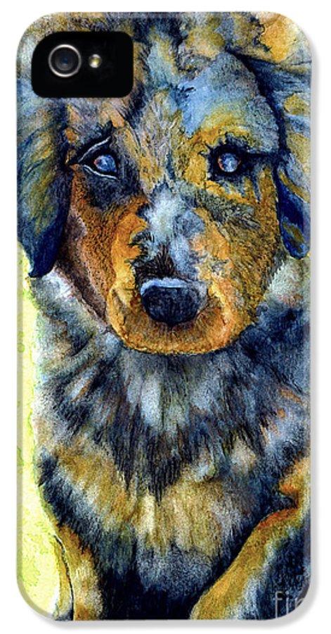 Shepherd IPhone 5 Case featuring the painting Australian Shepherd Puppy by Janine Riley
