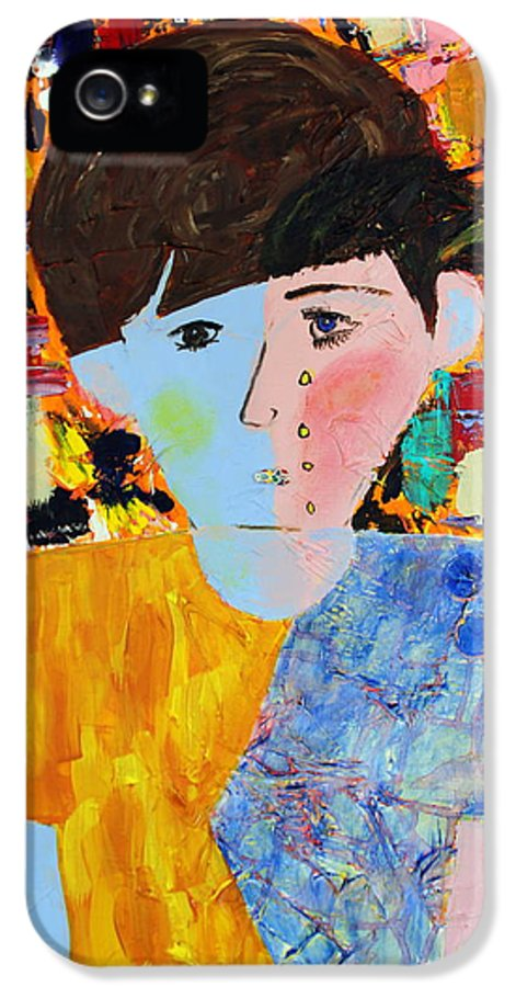 Abstract IPhone 5 Case featuring the painting Autism - Child And Mother by Carmencita Balagtas