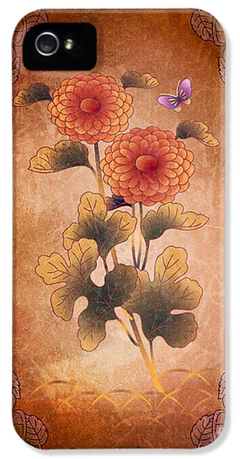 Autumn IPhone 5 Case featuring the digital art Autumn Blooming Mum by Peter Awax