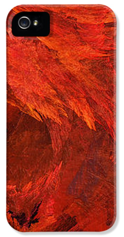 Abstract IPhone 5 Case featuring the digital art Autumn Fire Pano 2 Vertical by Andee Design