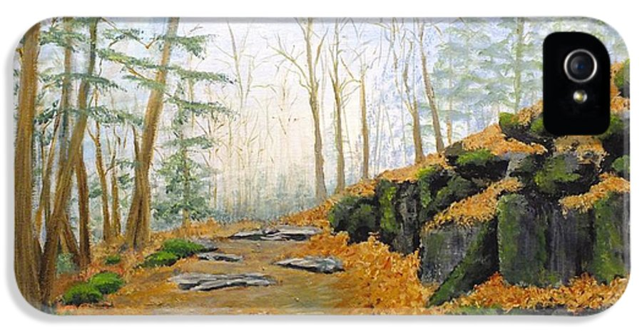 Nature IPhone 5 Case featuring the painting Autumn Hike by Peggy King