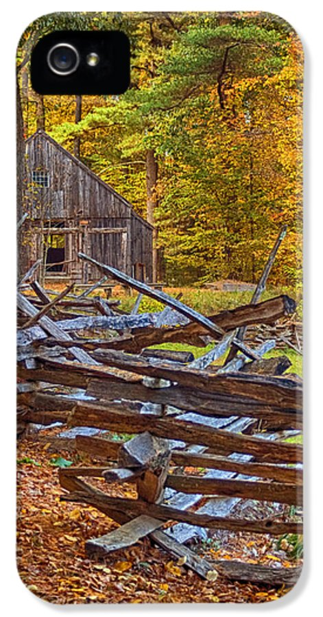 Autumn IPhone 5 Case featuring the photograph Autumn Wooden Fence by Joann Vitali