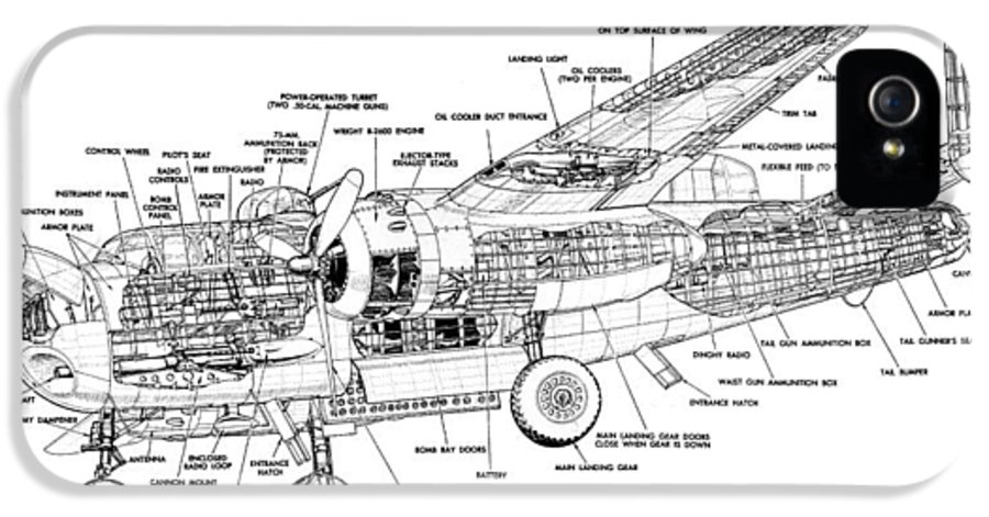 B25 Mitchell Schematic Diagram Iphone 5 Case For Sale By John King