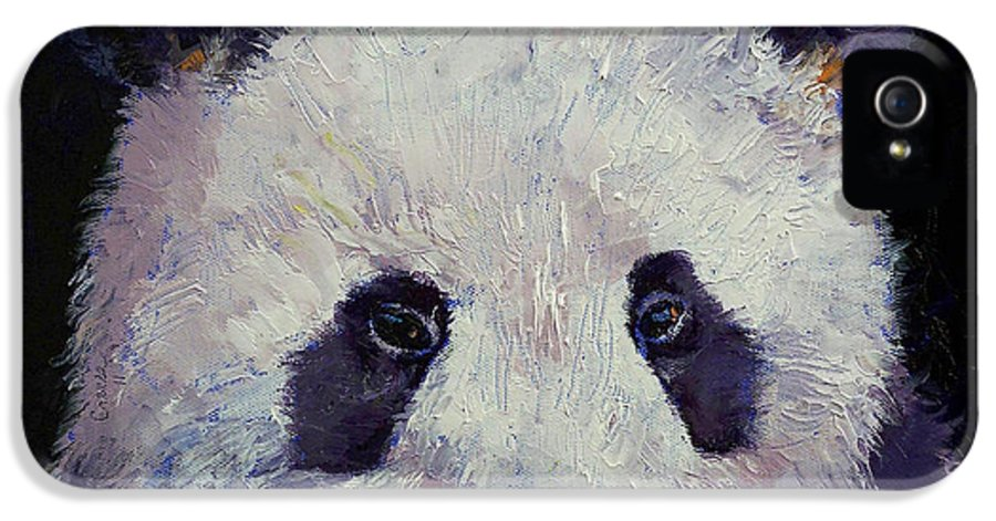 Panda IPhone 5 Case featuring the painting Baby Panda by Michael Creese