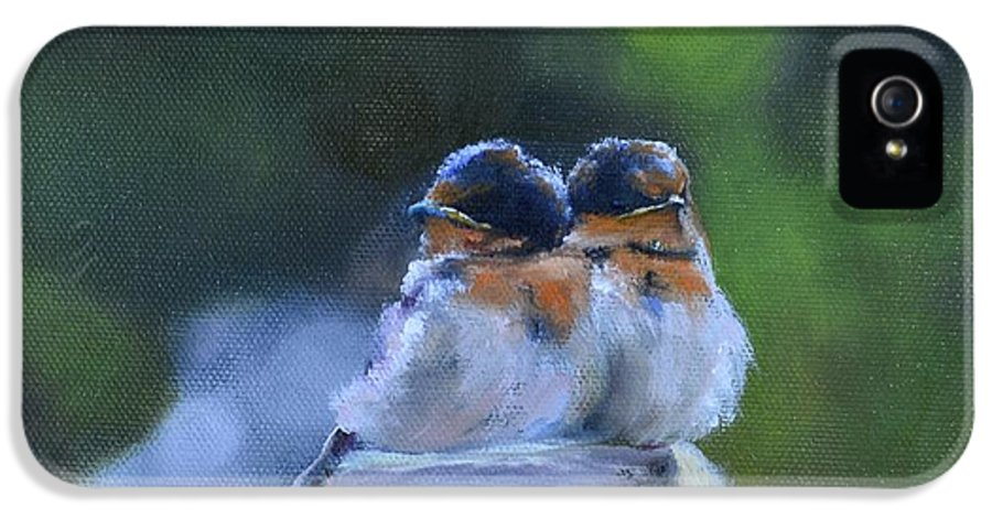 Swallow IPhone 5 Case featuring the painting Baby Swallows On Post by Donna Tuten