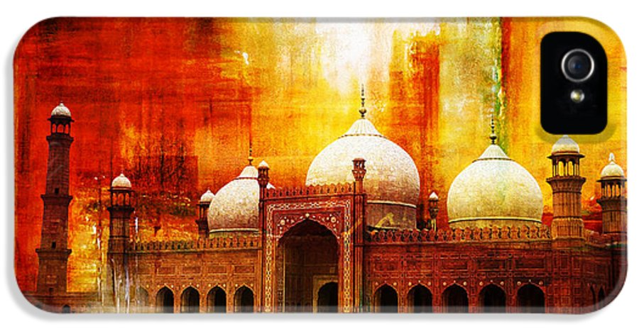 Pakistan IPhone 5 Case featuring the painting Badshahi Mosque Or The Royal Mosque by Catf