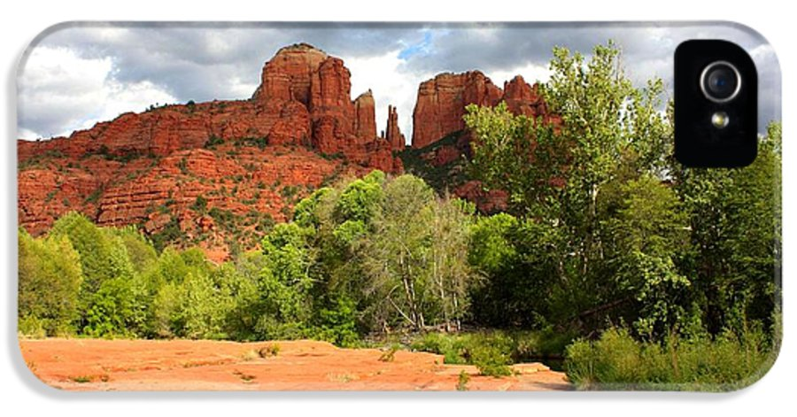 Sedona IPhone 5 Case featuring the photograph Balance At Cathedral Rock by Carol Groenen