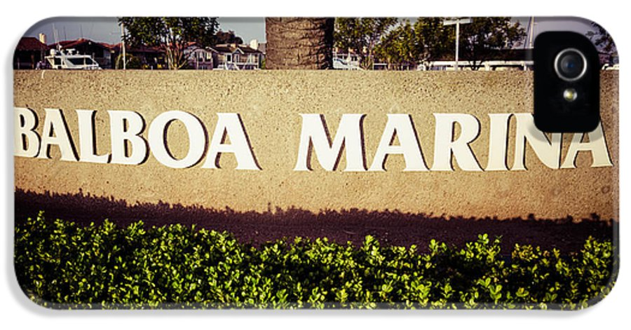 America IPhone 5 Case featuring the photograph Balboa Marina Sign Newport Beach Picture by Paul Velgos