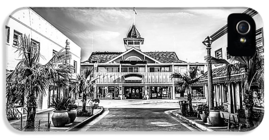 America IPhone 5 Case featuring the photograph Balboa Pavilion Newport Beach Black And White Picture by Paul Velgos