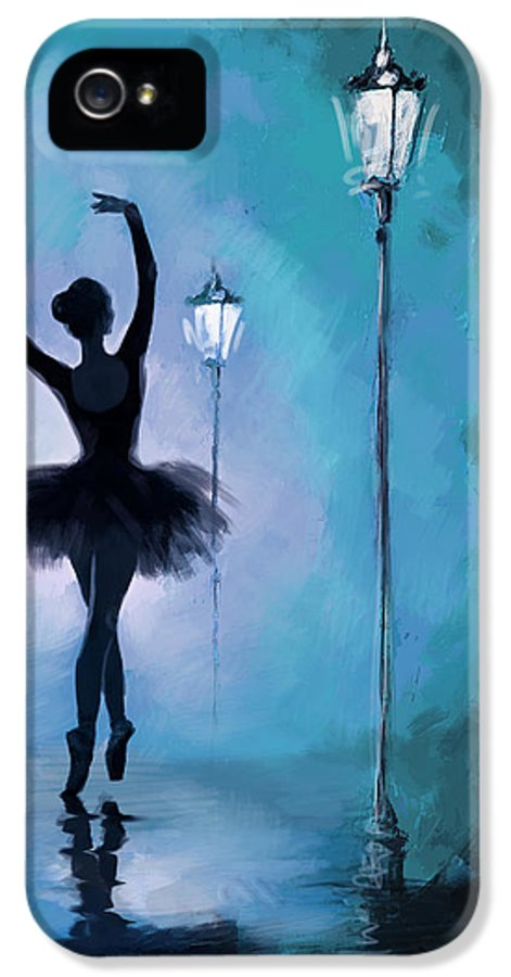 Ballet Dancer IPhone 5 Case featuring the painting Ballet In The Night by Corporate Art Task Force