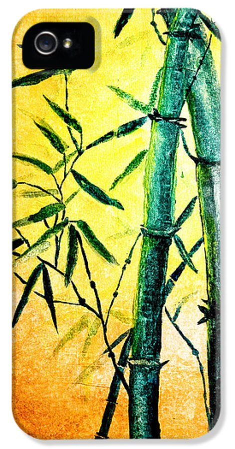 Art IPhone 5 Case featuring the painting Bamboo Magic by Nirdesha Munasinghe
