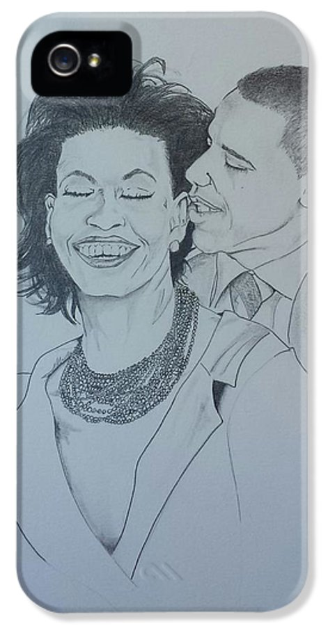 Michelle And Barrack Obama IPhone 5 Case featuring the drawing Bandmo by DMo Her
