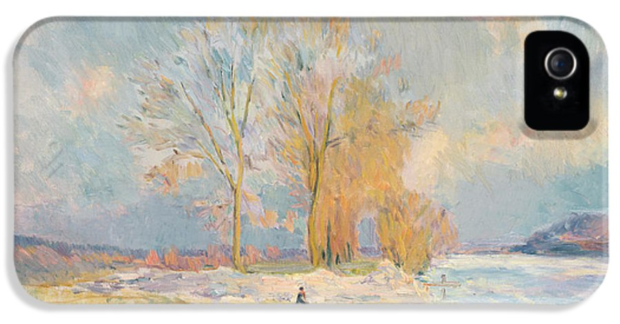 Wintry IPhone 5 Case featuring the painting Banks Of The Seine And Vernon In Winter by Albert Charles Lebourg