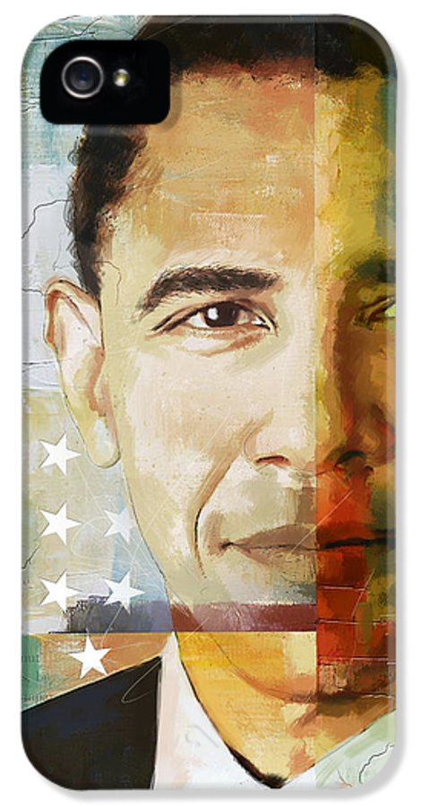 Barack Obama IPhone 5 Case featuring the painting Barack Obama by Corporate Art Task Force