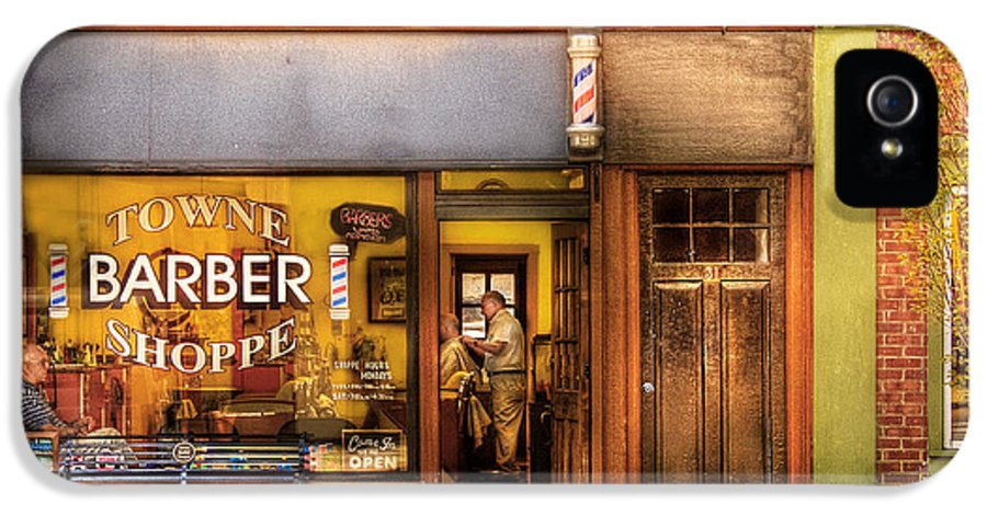 Hair IPhone 5 Case featuring the photograph Barber - Towne Barber Shop by Mike Savad