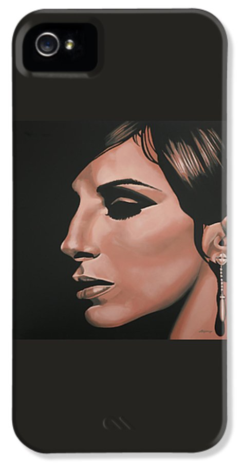 Barbra Streisand IPhone 5 Case featuring the painting Barbra Streisand by Paul Meijering