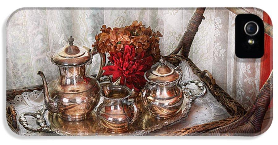 Savad IPhone 5 Case featuring the photograph Barista - Tea Set - Morning Tea by Mike Savad