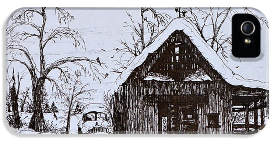 Ink Drawing IPhone 5 Case featuring the drawing Barn And Car by Jeannie Anderson