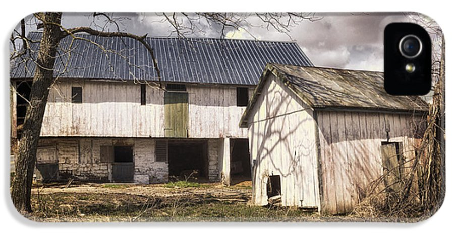 Agriculture IPhone 5 Case featuring the photograph Barn Near Utica Mills Covered Bridge by Joan Carroll