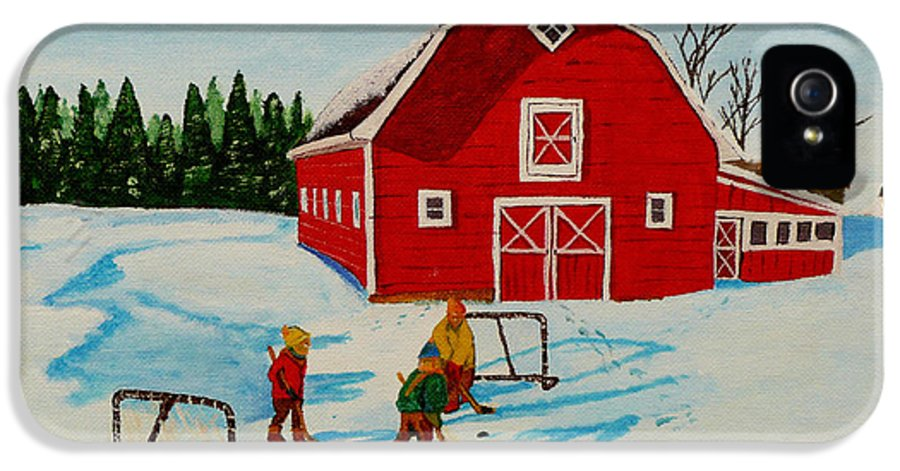 Hockey IPhone 5 Case featuring the painting Barn Yard Hockey by Anthony Dunphy