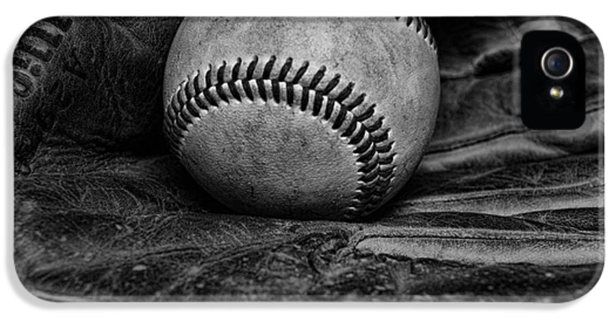 Paul Ward IPhone 5 Case featuring the photograph Baseball Broken In Black And White by Paul Ward