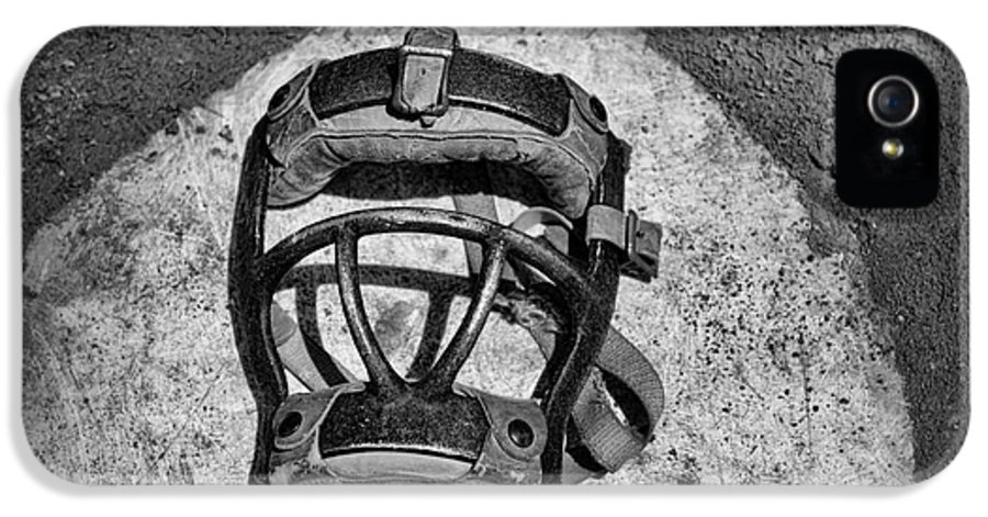 Paul Ward IPhone 5 Case featuring the photograph Baseball Catchers Mask Vintage In Black And White by Paul Ward