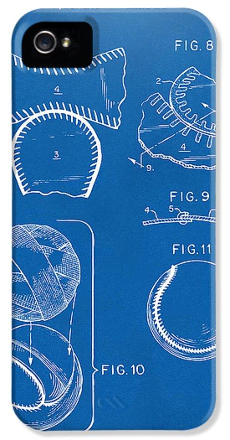 Baseball IPhone 5 Case featuring the digital art Baseball Construction Patent 2 - Blueprint by Nikki Marie Smith