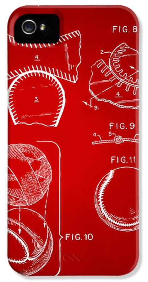 Baseball IPhone 5 Case featuring the drawing Baseball Construction Patent 2 - Red by Nikki Marie Smith