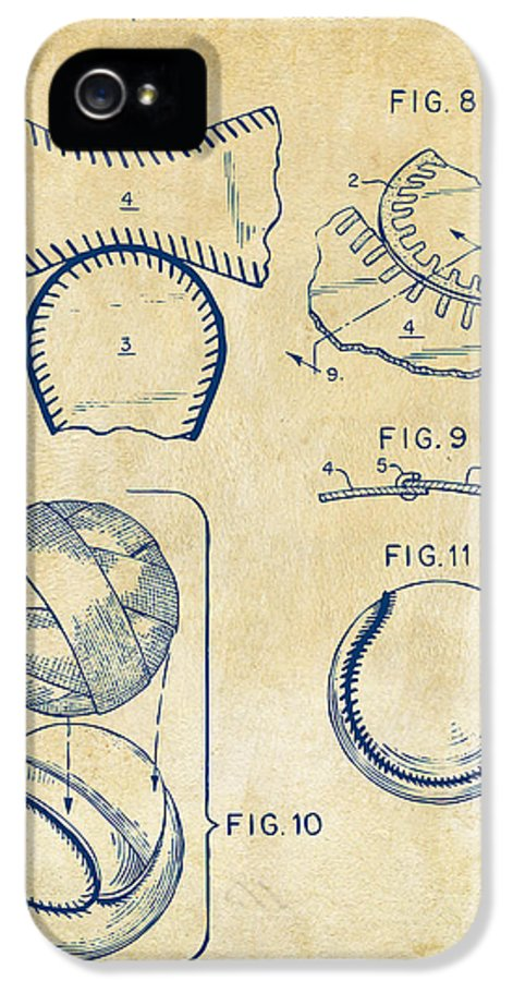 Baseball IPhone 5 Case featuring the drawing Baseball Construction Patent 2 - Vintage by Nikki Marie Smith