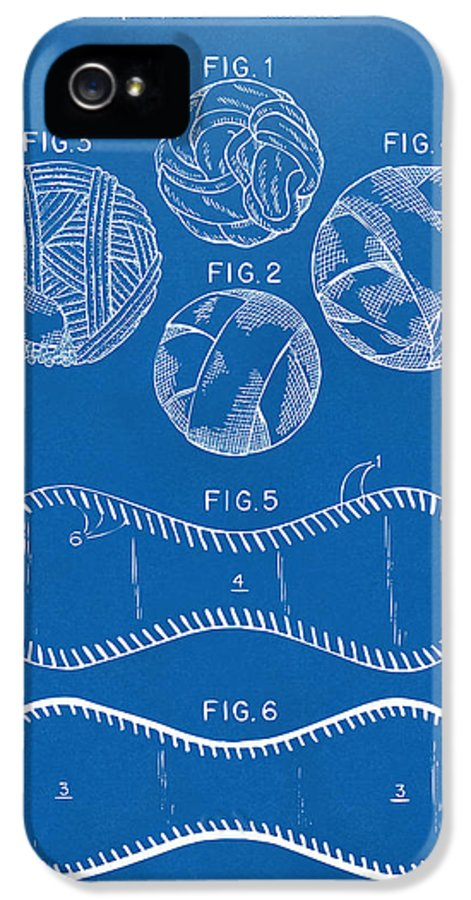 Baseball IPhone 5 Case featuring the digital art Baseball Construction Patent - Blueprint by Nikki Marie Smith