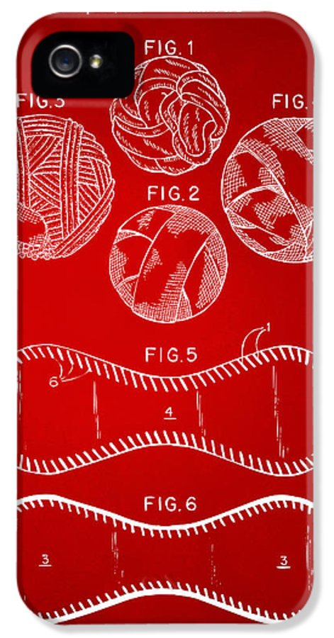 Baseball IPhone 5 Case featuring the drawing Baseball Construction Patent - Red by Nikki Marie Smith