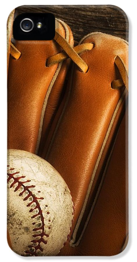 Baseball IPhone 5 Case featuring the photograph Baseball Glove And Baseball by Chris Knorr