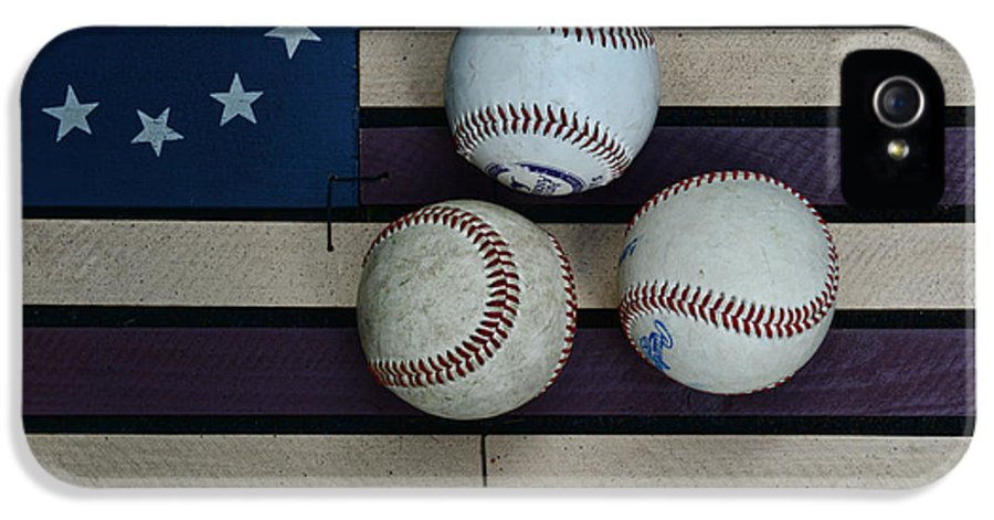 Paul Ward IPhone 5 Case featuring the photograph Baseballs On American Flag Folkart by Paul Ward