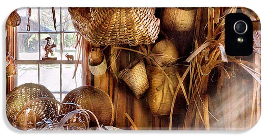 Savad IPhone 5 Case featuring the photograph Basket Maker - I Like Weaving by Mike Savad