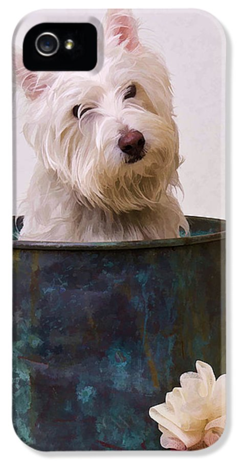 Dog IPhone 5 Case featuring the photograph Bath Time Westie by Edward Fielding